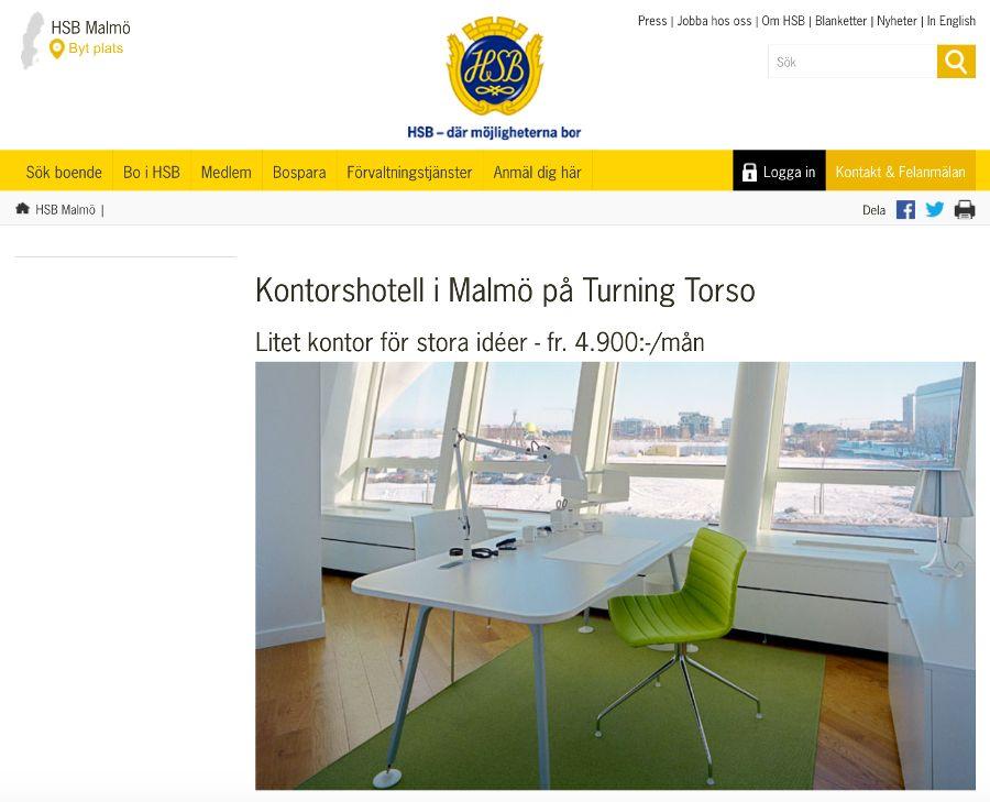 Kontorshotell Turning Torso